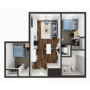 Floorplan image for B1 2x1