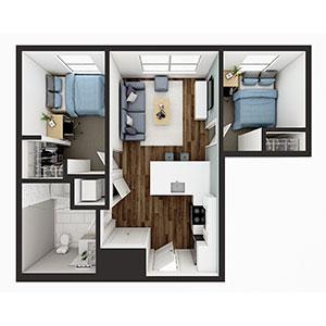Floorplan image for B2 2x1