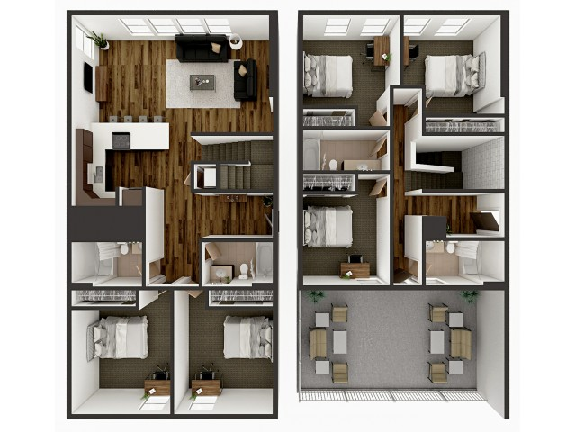 E1 Townhome Floor plan layout